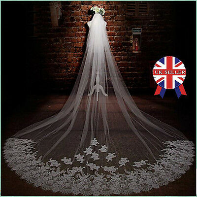New White Ivory 1T Cathedral Applique Edge Lace Bridal Wedding Veil With Comb 3M