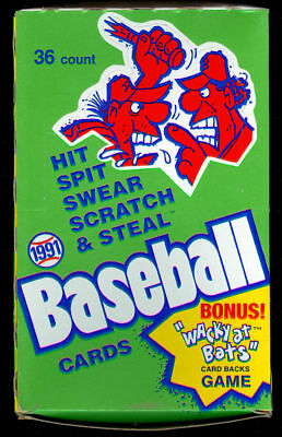 1991 Confex Hit Spit Swear Baseball Fun Stuff Wax Pack Box Wacky At Bats  Set