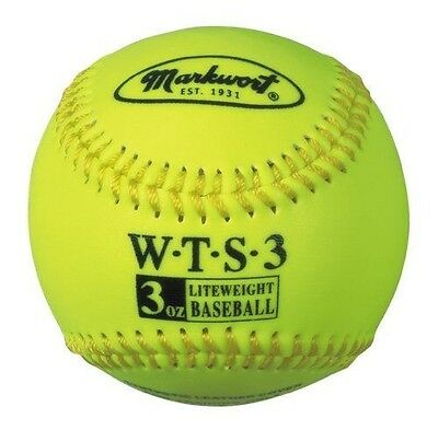 Markwort Weighted Synthetic Covered Baseball, 9-Inch, 89ml, Optic Yellow