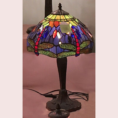 Blue/green Dragonfly Tiffany Style Leadlight Table Lamp -Will Ship Australiawide