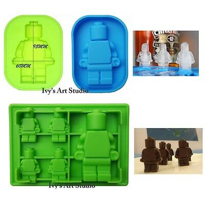 Set of 2 Multi Lego Type Minifigure Man Silicone Molds Moulds