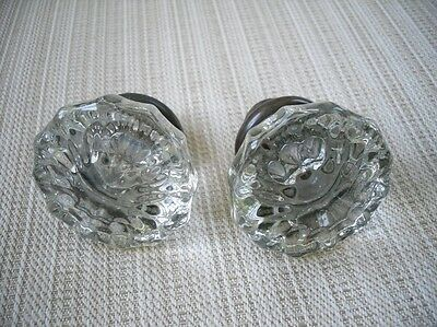 Vintage Glass & Brass Door Knobs - 1 Set  antique
