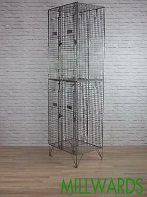 Vintage Industrial Wire Mesh Metal Lockers Wardrobe Cupboard