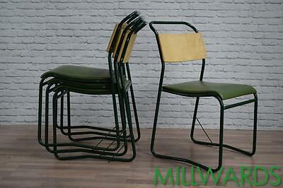 Industrial Vintage Green Stacking Stackable Cafe Bar Chairs 40 AVAILABLE