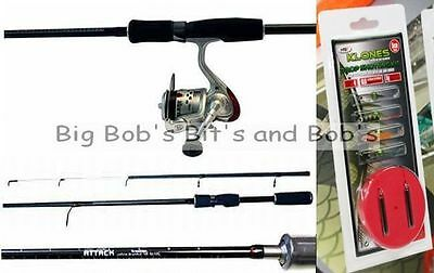 "NEW Drop Shot 6ft 6"" Rod & Reel Line Pike Spinning Carbon Composite + Lures Kit"