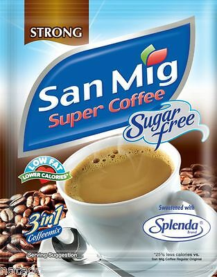 San Miguel Super Strong COFFEE Sugar Free Low Fat 10 Sachets 3 in 1 Mix 70g