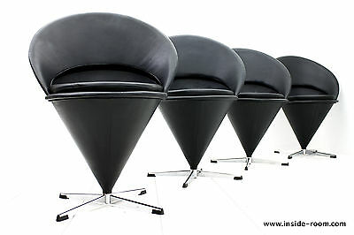 Set of Four Leather Cone Chairs by Verner Panton, Denmark 1960`s