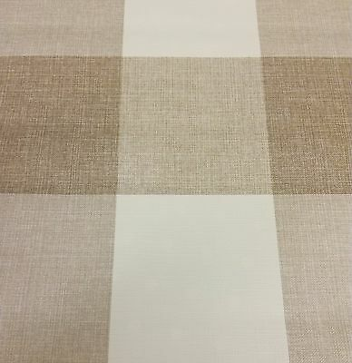 Maxine Taupe Check Linen Effect Vinyl Wipe Clean Pvc Tablecloth