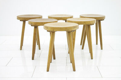 Set of 6 Wood Stools, Germany 1950`s
