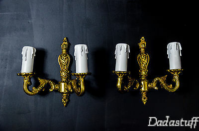Set of two French two lights Gilded Bronze SconcesLouis XV Roccoco Style • CAD $139.13
