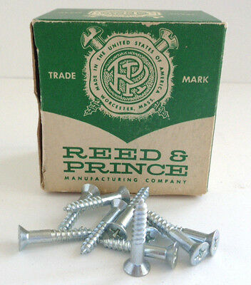 "Vintage Reed & Prince NOS 1"" Flat Head Phillips Zinc Wood Screws Qty 75"