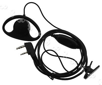 For Kenwood Baofeng Radio 2 pin D Shape Earpiece Headset Earphone Microphone New