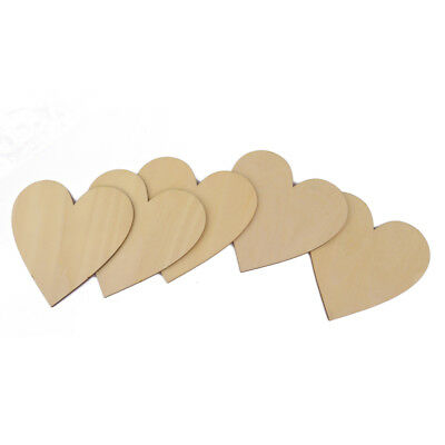 10pcs Unfinished Wooden Wood Heart Shape Pieces Craft Card Making Scrapooking