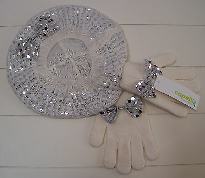 Girls Capelli Kids Ivory and Metallic Silver Beret Hat and Gloves Set OSFM NWT
