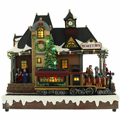 Christmas Light Up Musical Animated Village Train Station Indoor Decoration