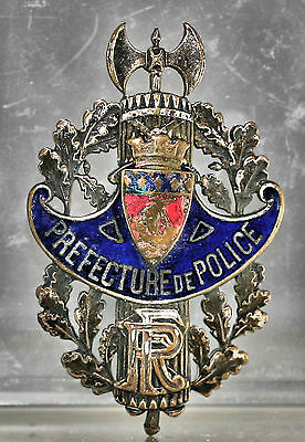 Extremely Rare 1930s French Paris Prefecture Police Cap Badge Numbered