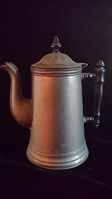 """Primitive Antique Copper, Brass and Wood Coffee Pot 10.5"""" Tall"""