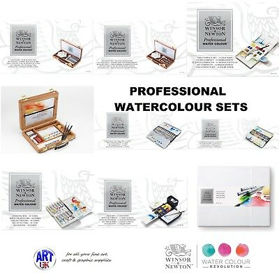 Winsor & Newton PROFESSIONAL ARTISTS WATERCOLOUR GIFT SETS tubes pans wooden box
