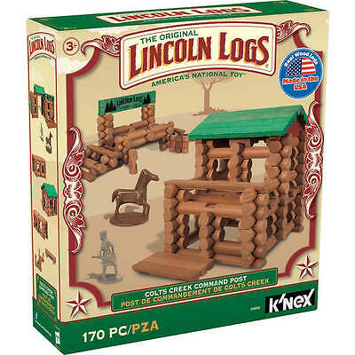 NEW  LINCOLN LOGS Colts Creek Command Post 170 Piece Real Wood Fortress Horse