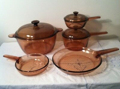 Corning VISIONS AMBER GLASS COOKWARE 8 PC. SET- Dutch Oven Saucepans Skillets