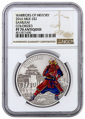 2016 Niue $2 1oz Antiqued Silver Warriors of History Samurai NGC PF70 SKU43536