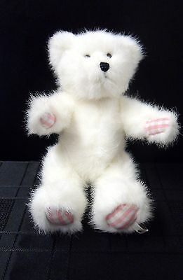 "The Boyds Collection White 8"" Jointed Teddy Bear With Pink Checked Hands & Feet"