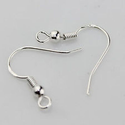 2,10, 50 pairs of 925 Sterling Silver Earrings Ear wires Fish Hooks Coil & ball