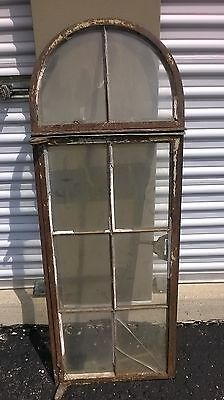 Vintage Industrial Municipal Building Salvage Metal Framed Domed Top Window