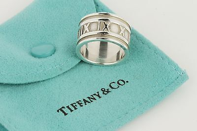 Tiffany & Co. Atlas Roman Numeral Sterling Silver Wide Ring Size 6 w/ Pouch