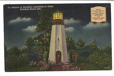 Vintage Postcard Rehoboth Beach DE Delaware Henlopen Lighthouse at Night Linen