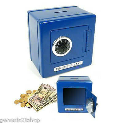 Metal box Steel Safe with Combination Lock for Kids Money Piggy Bank BLUE