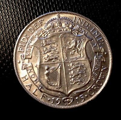 1915 George V Silver Halfcrown - Vf  With Lustre - Uk Post Free **reduced**
