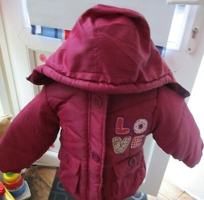 Girls Pink Love coat with hood age 4-5 years. BNWTs