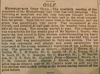 1876 Edinburgh Scotland Newspaper ~ Musselburgh Golf Club