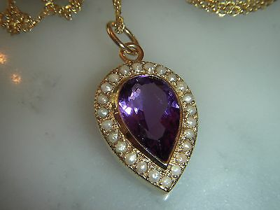 Beautiful Victorian Style  Amethyst & Seed Pearl 9Ct Gold Pendant & Chain