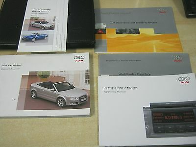 AUDI A4 CABRIOLET OWNERS MANUAL handbook pack 2005-2009 INC AUDIO CONCERT