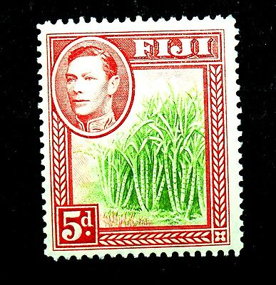 FIJI 3d Red with Green Sugarcane 1938-55