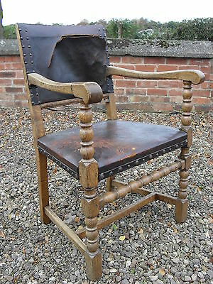 Antique Leather and Turned Oak Arm Easy Chair For Restoration Or Talking Point