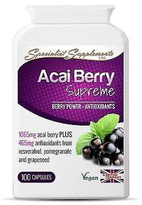 Acai Berry Supreme - Resveratrol, Grape Seed Extract and Pomegranate - 1065mg