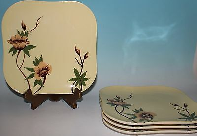VTG Weil Ware Yellow Rose Dinner Plates Set 4 Square MINT California Pottery