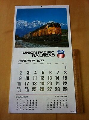 Union Pacific Railroad Wall Calendar-1980 Train Locomotive Pictures Photos