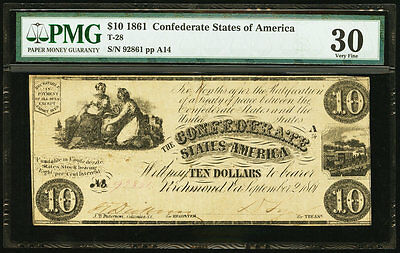 1861 $10 Confederate Currency T28  PMG 30