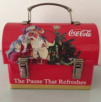 Coca Cola Santa Christmas Mini Lunchbox The Pause That Refreshes 3-1/4""