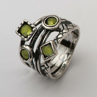 Square Peridot Green Sterling Silver 925 Ring