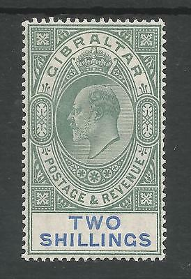 Gibraltar Sg52 The 1903  Evii 2/- Green And Blue Mounted Mint Cat £200