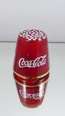 Vintage Red Glass Coca Cola Coke Collectible Thimble With Label KB Italy Rare!