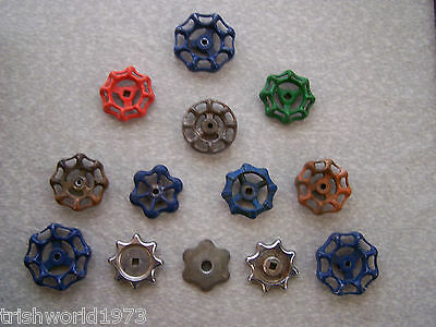 Lot Of 13 Vintage Metal Water Valve Handles Industrial Art Steampunk