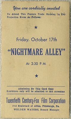 Special Invitation NIGHTMARE ALLEY for Movie Theater Exhibitor - Postmarked 1947