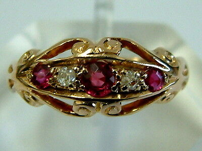 Antique 18Ct Gold Gypsy Rubies Diamonds Ring Dated 1913 - Small Ring Size
