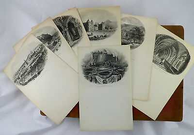 35 Antique Steel Engraved Illustrated Letterhead in Sorrento Folding case 1880